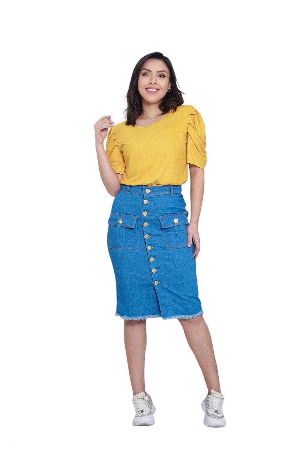 Saia Jeans Midi Detalhe Botões Frontais Moda Blogueira  - ModaStore   Moda Feminina