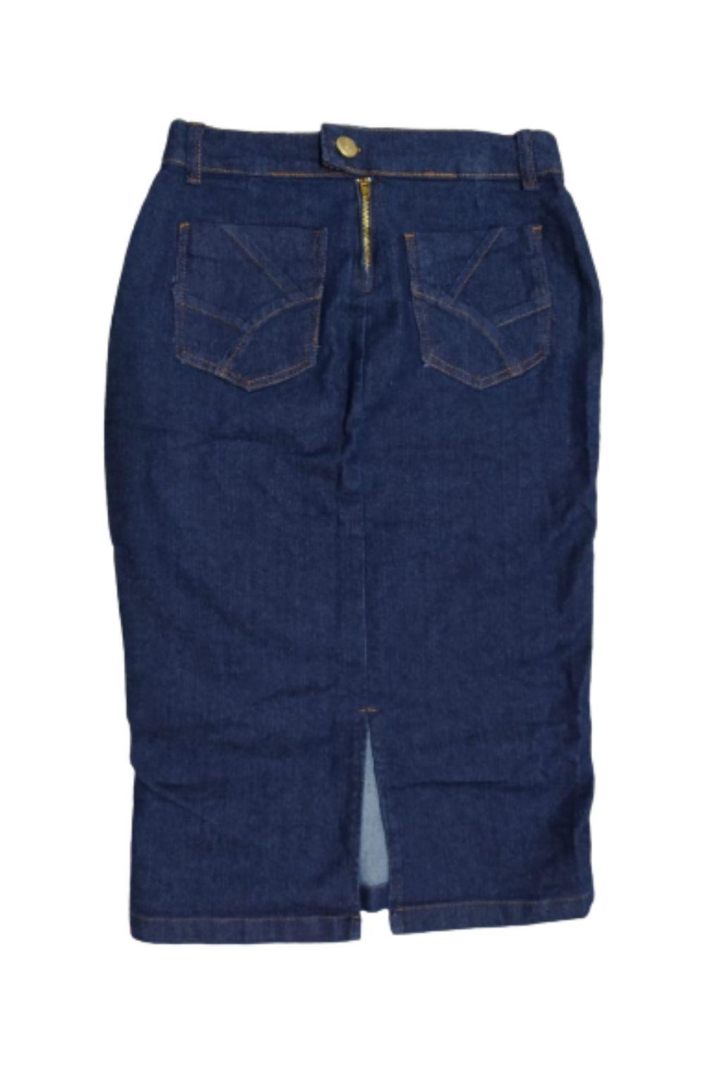 Saia Jeans Midi Lápis Detalhe Zíper na Barra Lateral  - ModaStore | Moda Feminina