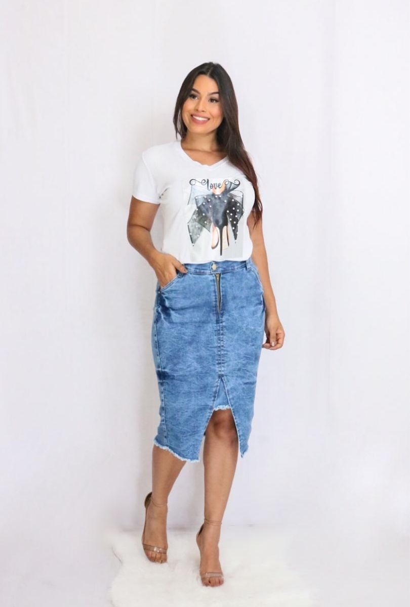 Saia Jeans Midi Mescla  - ModaStore