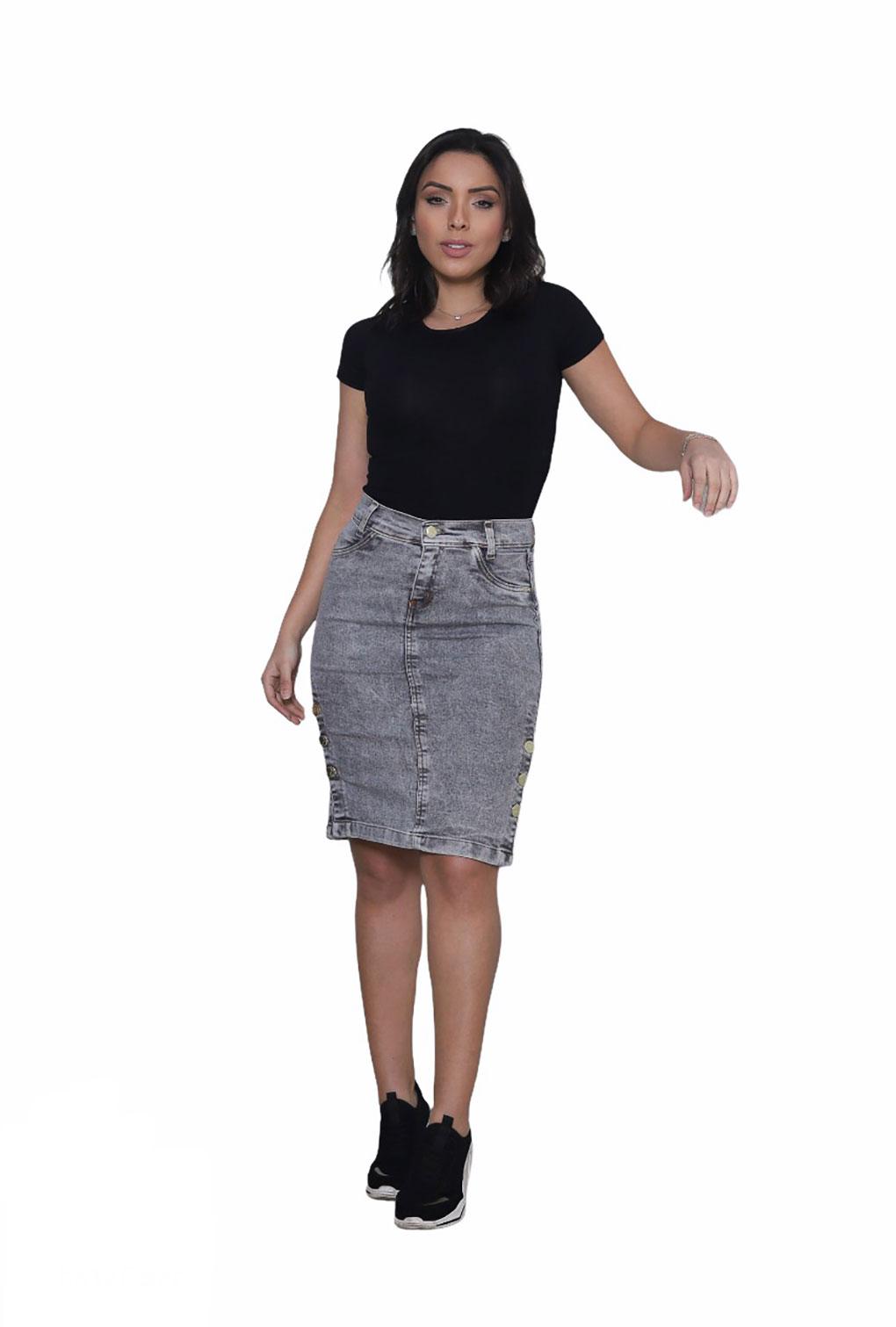 Saia  Jeans Moda Evangélica Feminina Cintura Alta Cinza Escuro  - ModaStore | Moda Feminina