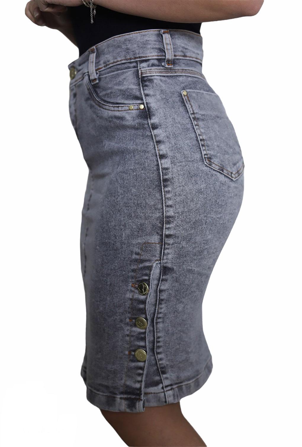 Saia  Jeans Moda Evangélica Feminina Cintura Alta Cinza Escuro  - ModaStore   Moda Feminina