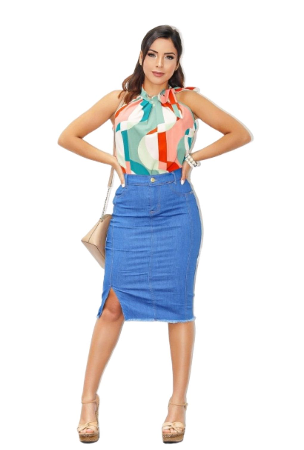 Saia Jeans Secretária com Fenda  - ModaStore   Moda Feminina