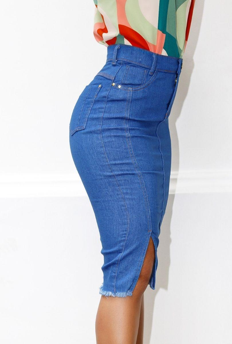 Saia Jeans Secretária com Fenda  - ModaStore