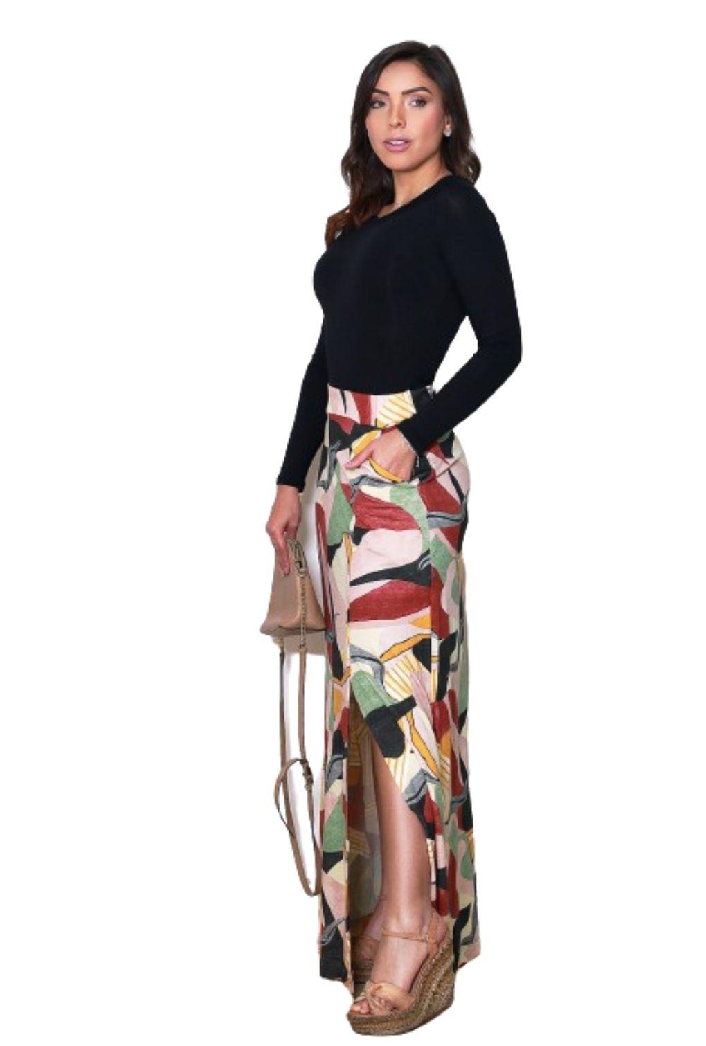 Saia Longa Estampada Feminina Viscolycra  - ModaStore   Moda Feminina