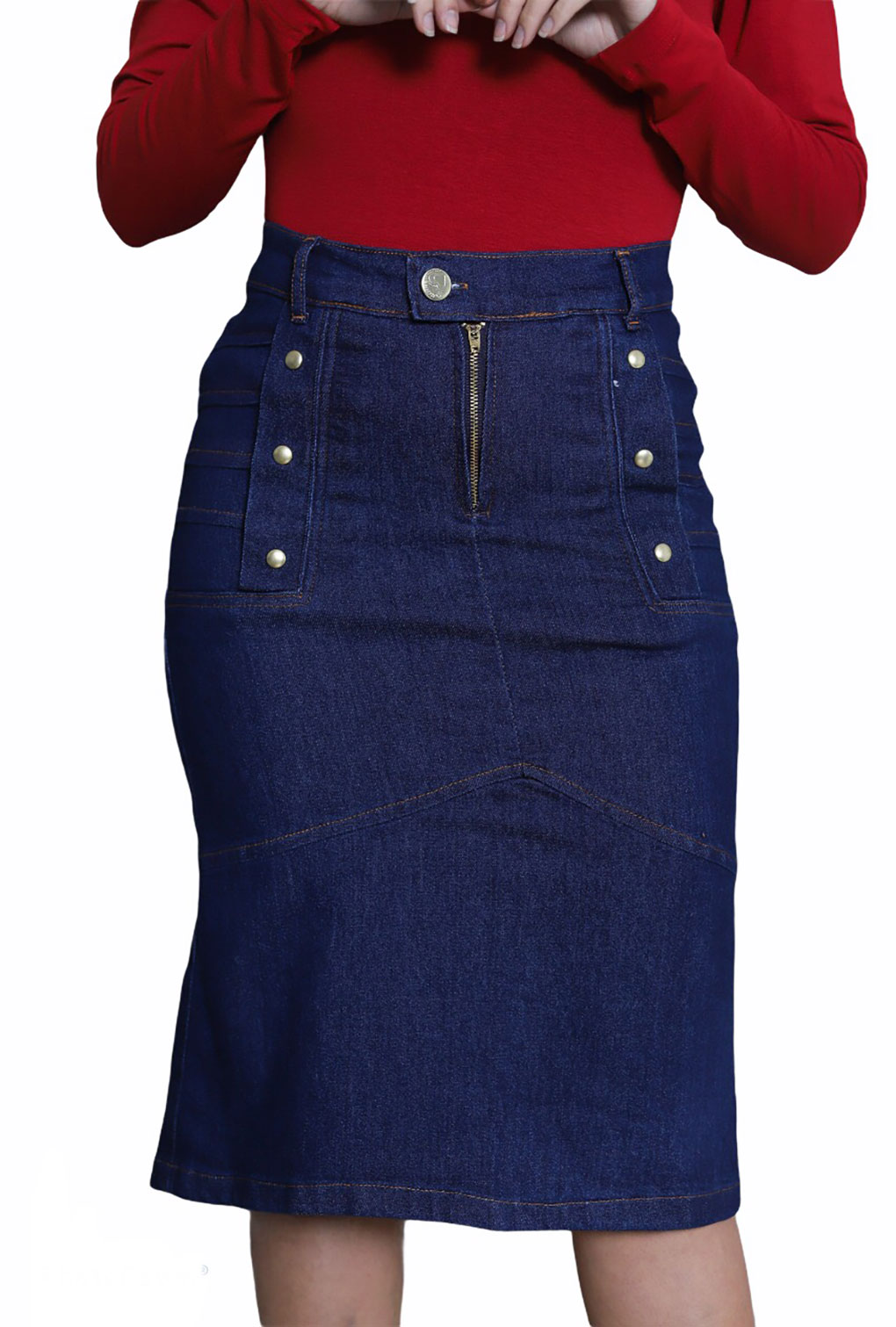 Saia Midi Moda Jeans Detalhe Botão Lateral Godê  - ModaStore | Moda Feminina