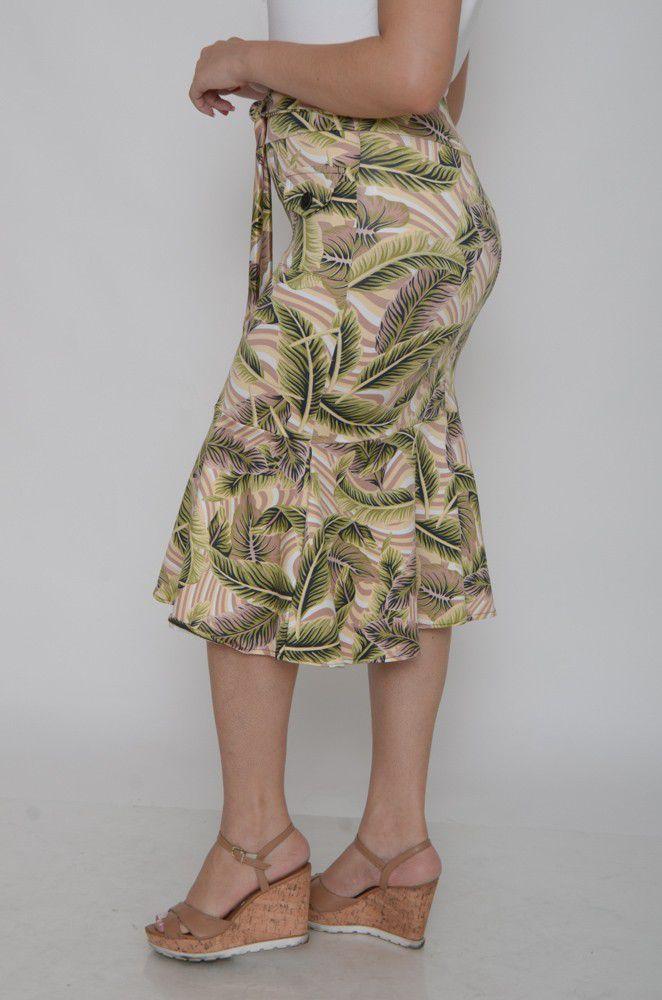 Saia Midi Suplex Detalhe Botões Folhagem   - ModaStore | Moda Feminina