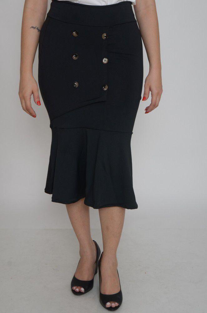 Saia Midi Suplex Detalhe Botões   - ModaStore   Moda Feminina