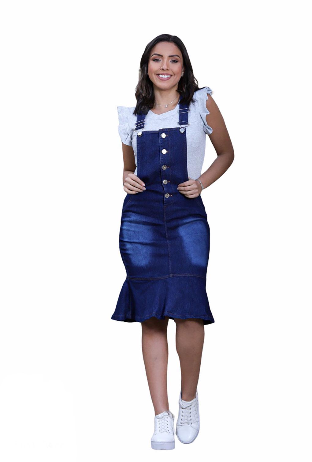 Salopete Jardineira Moda Jeans Feminina  - ModaStore | Moda Feminina