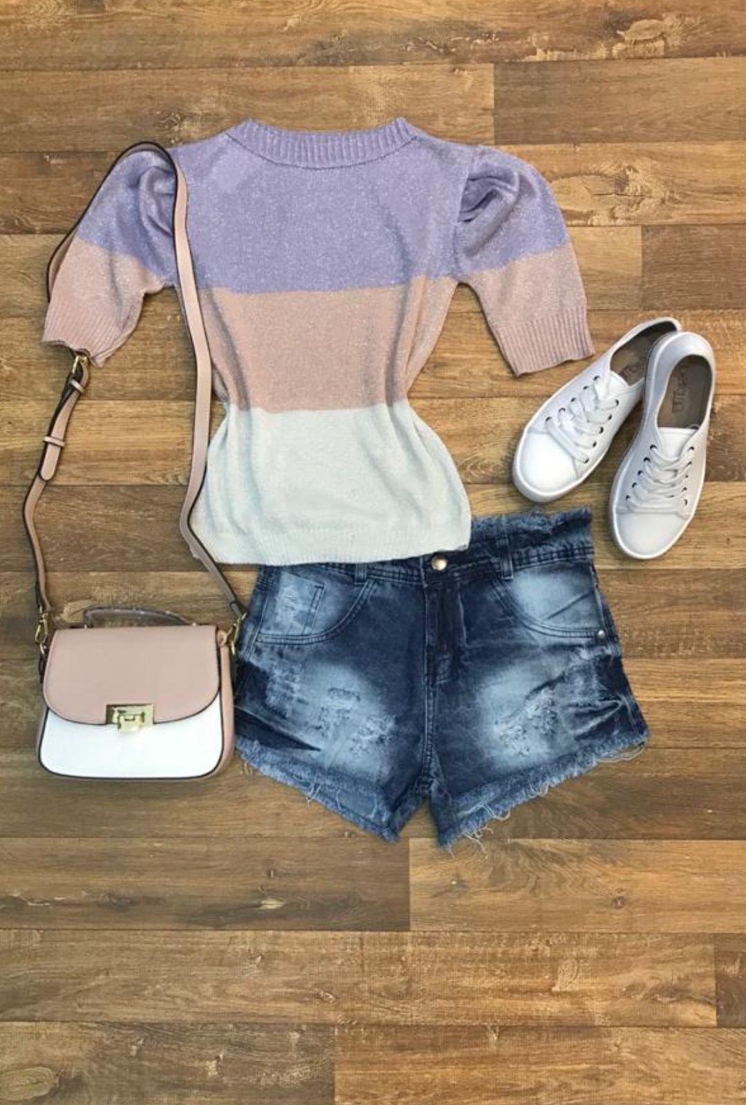 Shorts Jeans Destroyed Feminino Cintura média 100% Jeans  - ModaStore