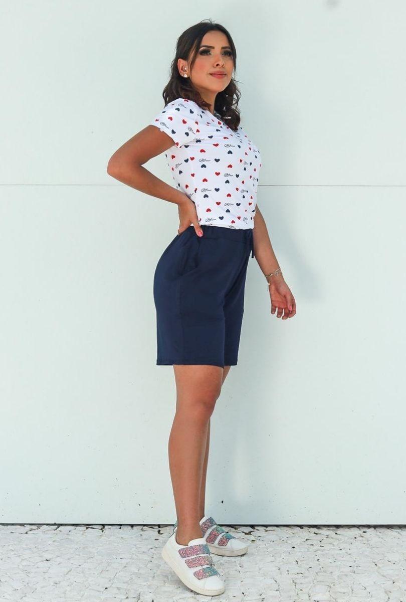Shorts Básico Feminino Azul Marinho  - ModaStore