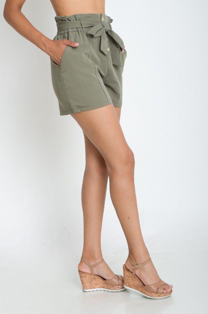 Shorts em Poliéster Cintura Alta  - ModaStore