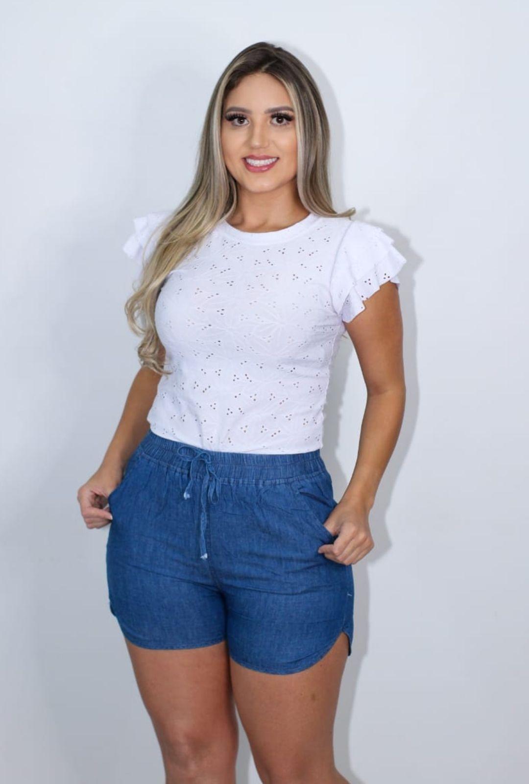 Shorts Feminino Estilo Jeans.  - ModaStore