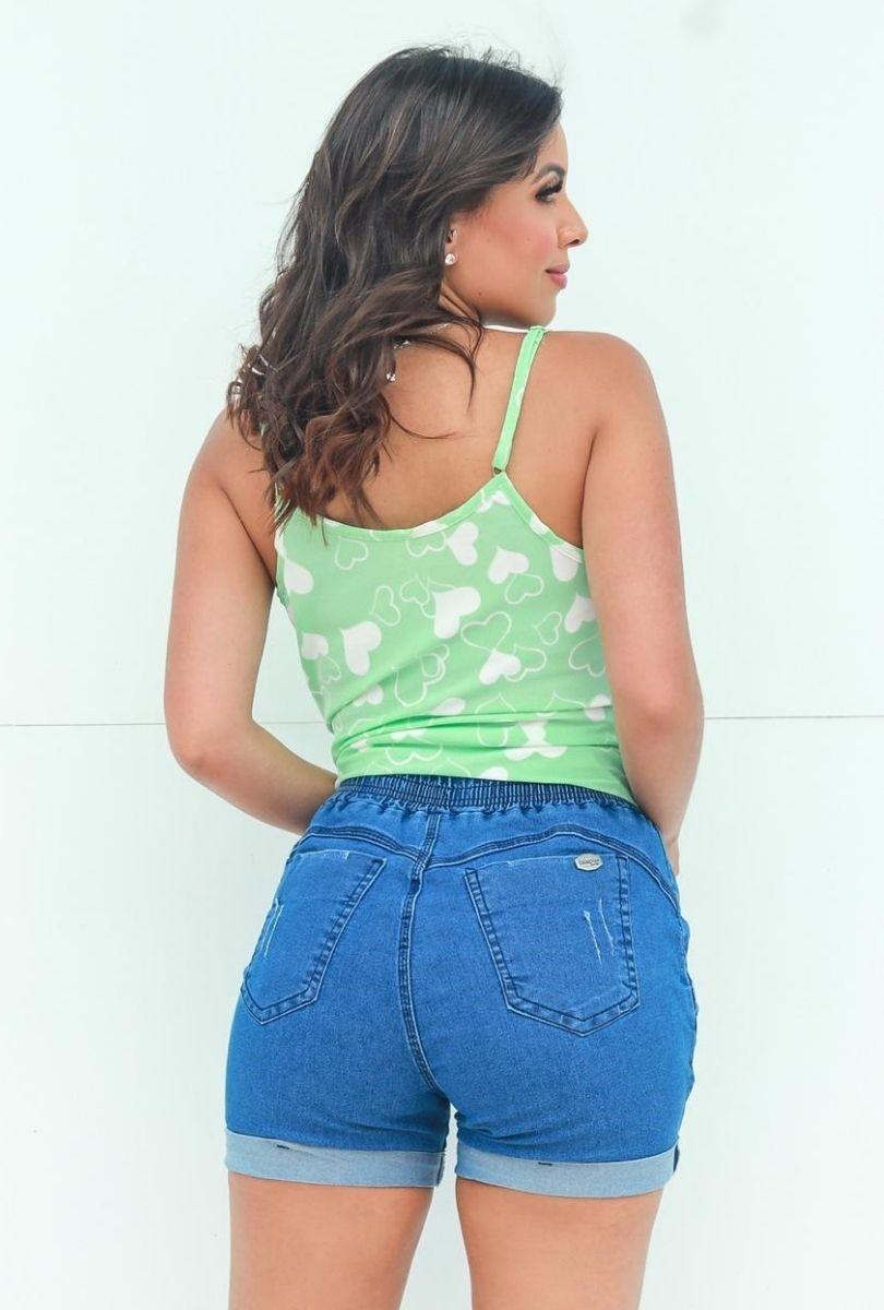 Shorts Jeans com Elástico na Cintura e Barra Dobrada  - ModaStore | Moda Feminina