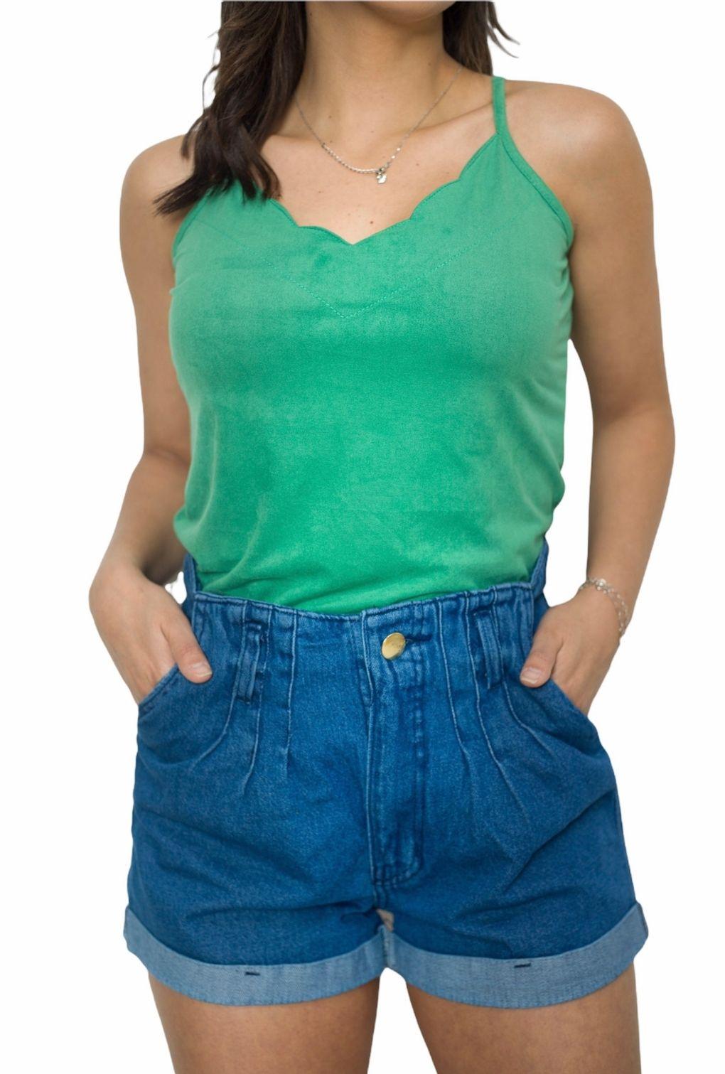 Shorts Jeans Feminino Curto Com Bolso E Elástico Na Cintura  - ModaStore | Moda Feminina