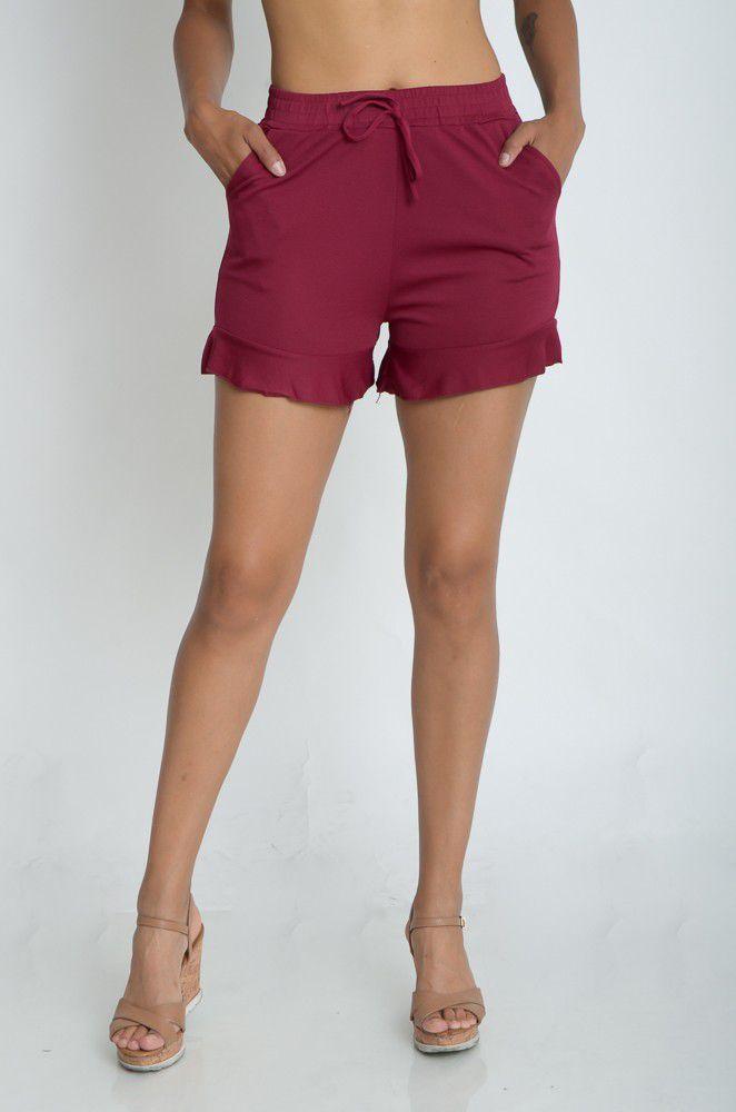 Shorts Liso Ponta Babado  - ModaStore