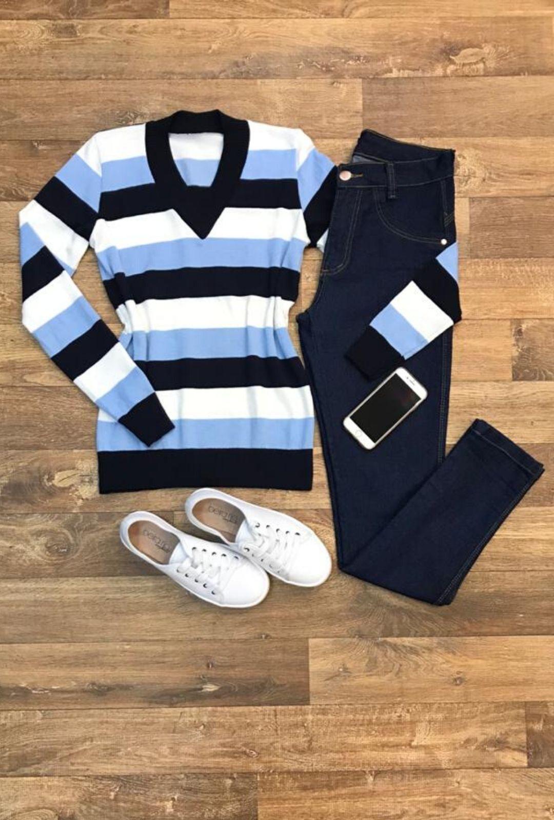 Suéter Tricot Feminina Listrada   - ModaStore