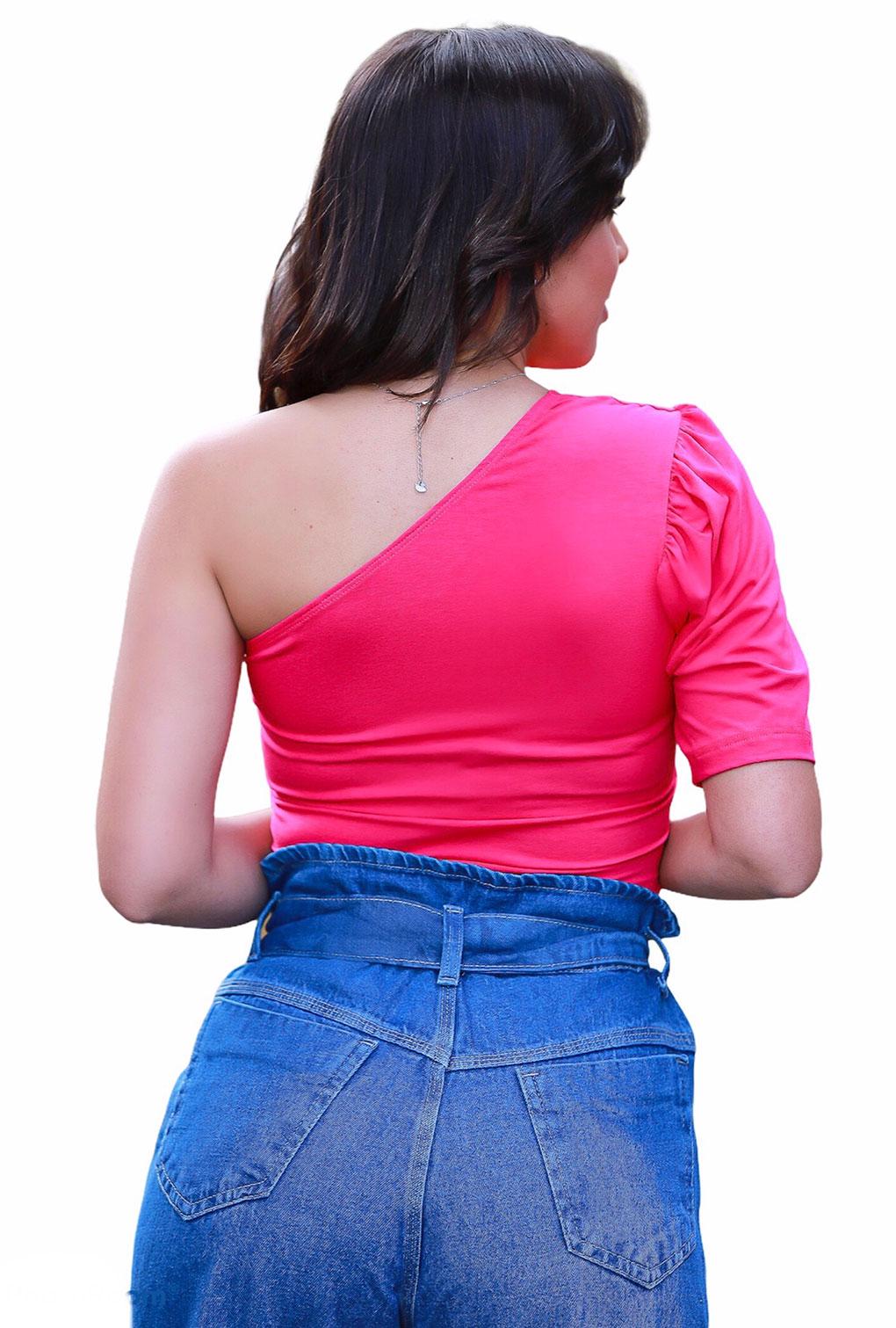 Top Cropped Blogueira Um Ombro Só Com Bojo Manga Bufante  - ModaStore | Moda Feminina
