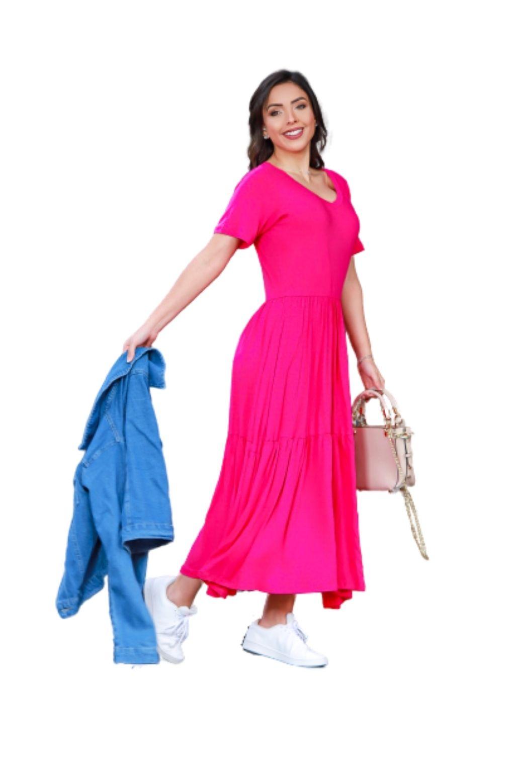 Vestido Babado Midi Soltinho Blogueira Feminina Manga Curta Pink  - ModaStore | Moda Feminina