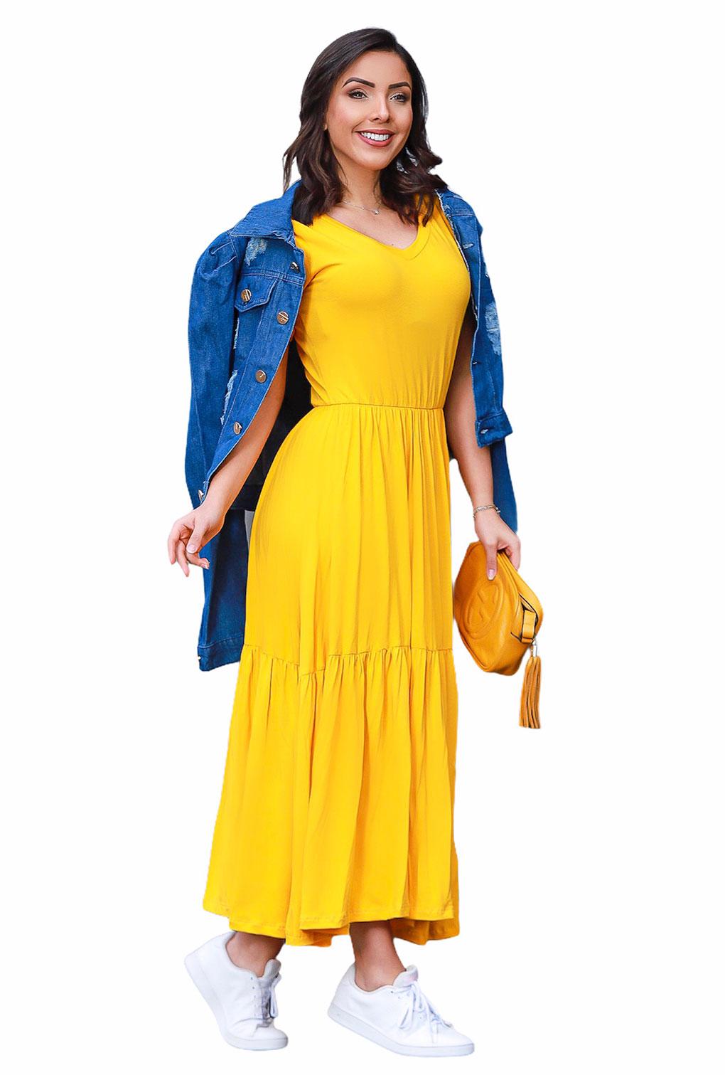 Vestido Babado Midi Soltinho Blogueira Manga Curta Amarelo  - ModaStore   Moda Feminina