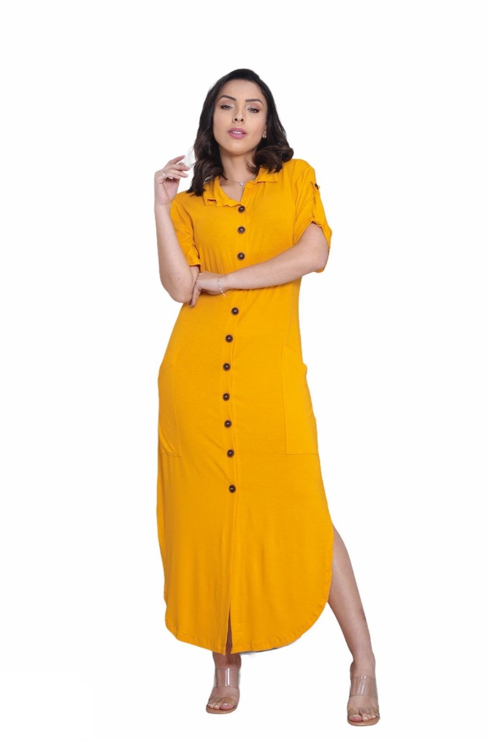 Vestido Chemise Social Mullet Manga Curta Botões Camisão  - ModaStore   Moda Feminina