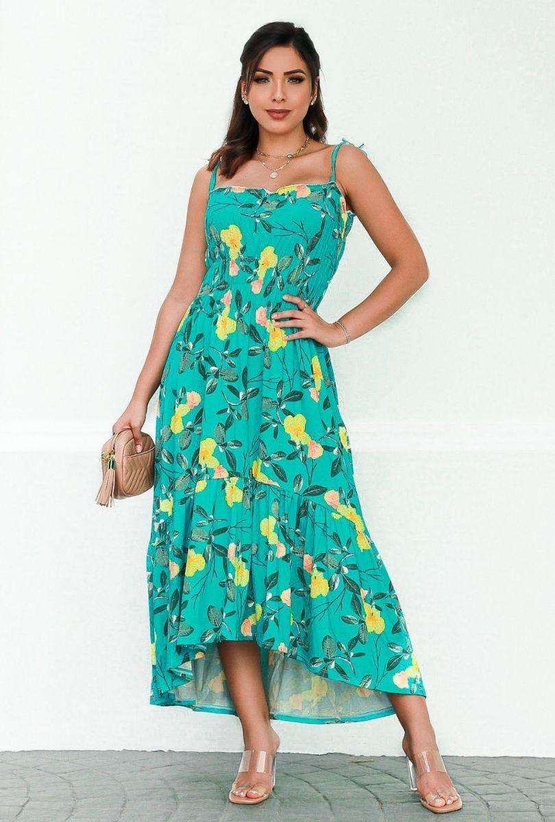 Vestido com Lastex Modelo Mullet De Alça Moda Feminina  - ModaStore
