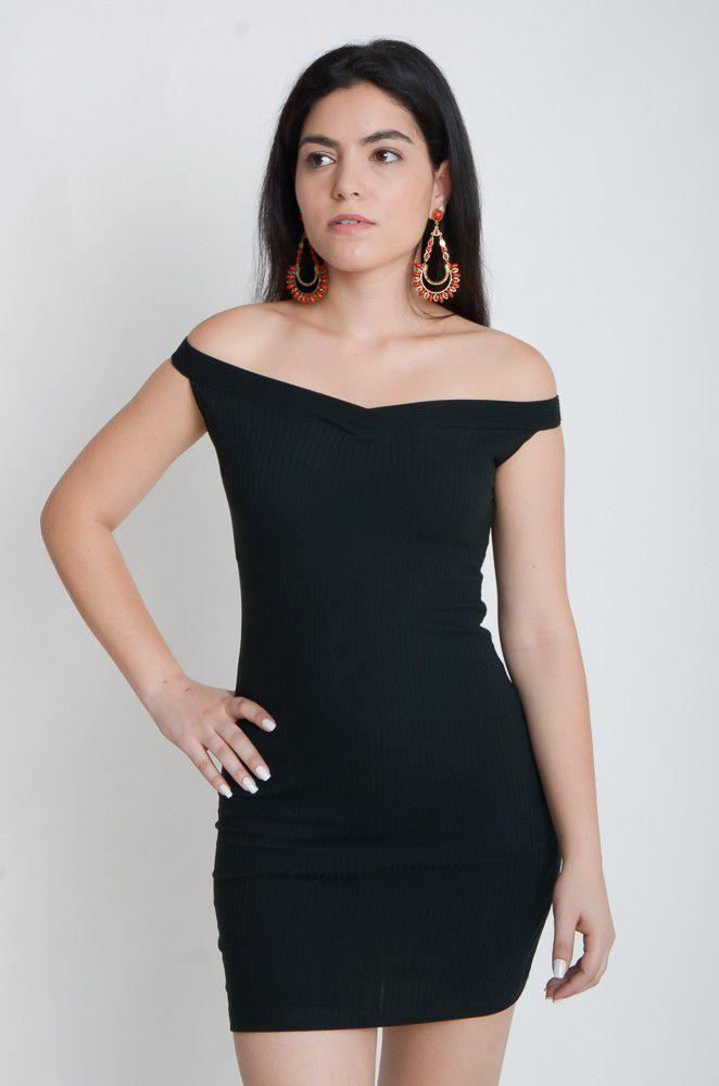 Vestido Curto Canelado Decote Ombro a Ombro  - ModaStore