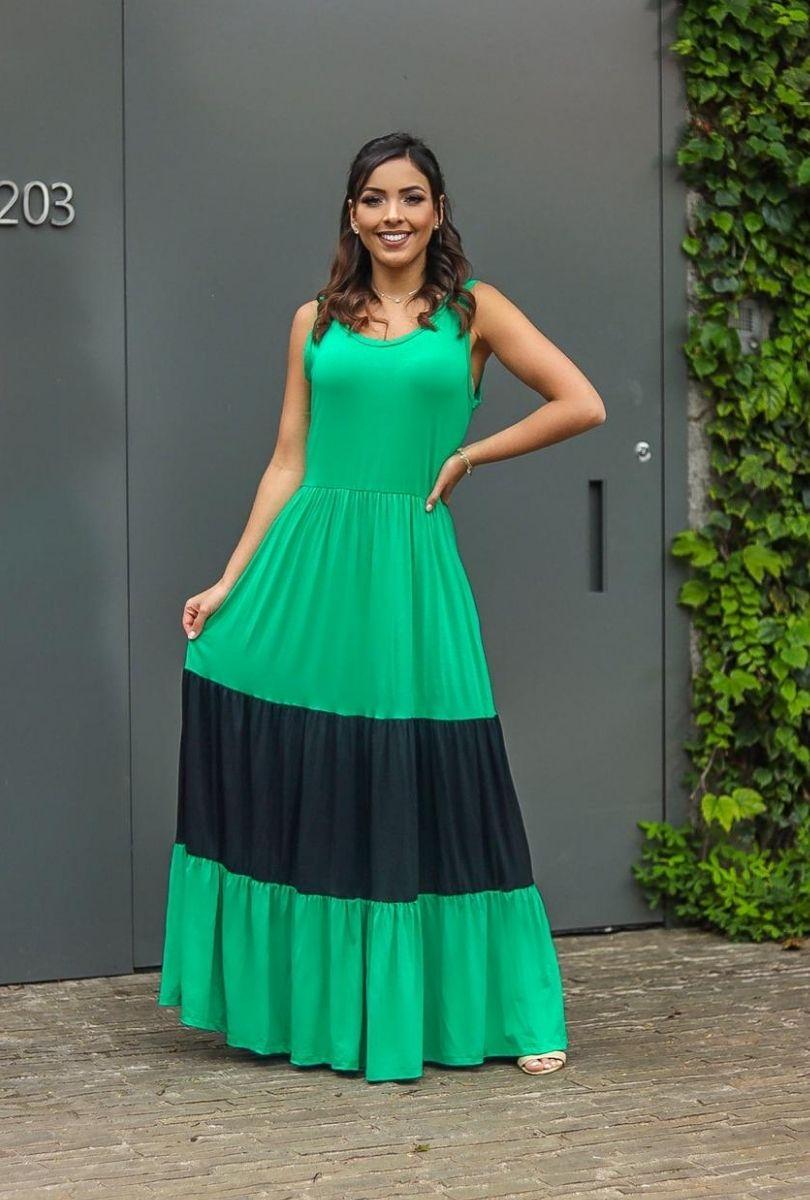 Vestido Longo regata babado    - ModaStore | Moda Feminina