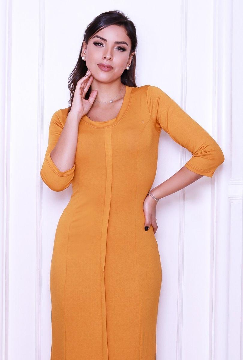 Vestido  Longo Feminino Meia Estação Babado Tendência  - ModaStore