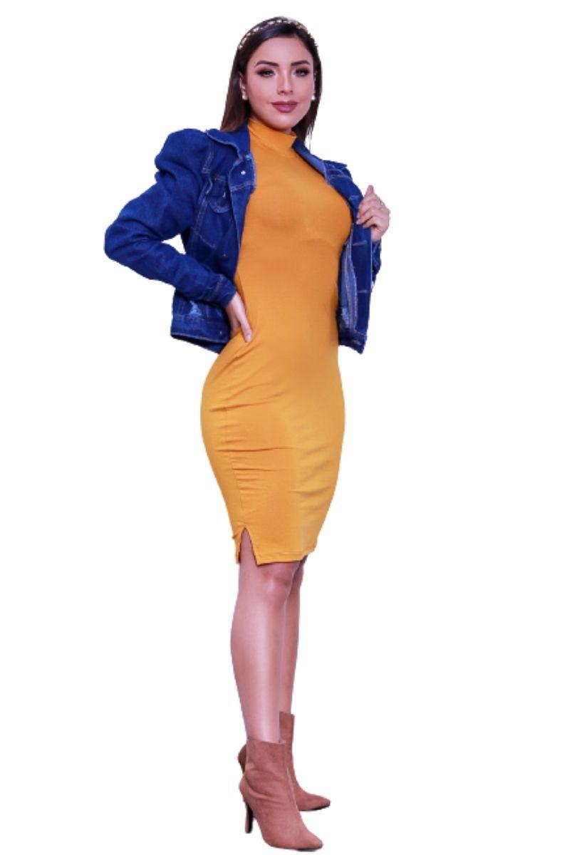 Vestido Feminino Midi Manga Longa Gola Alta Tubinho  - ModaStore