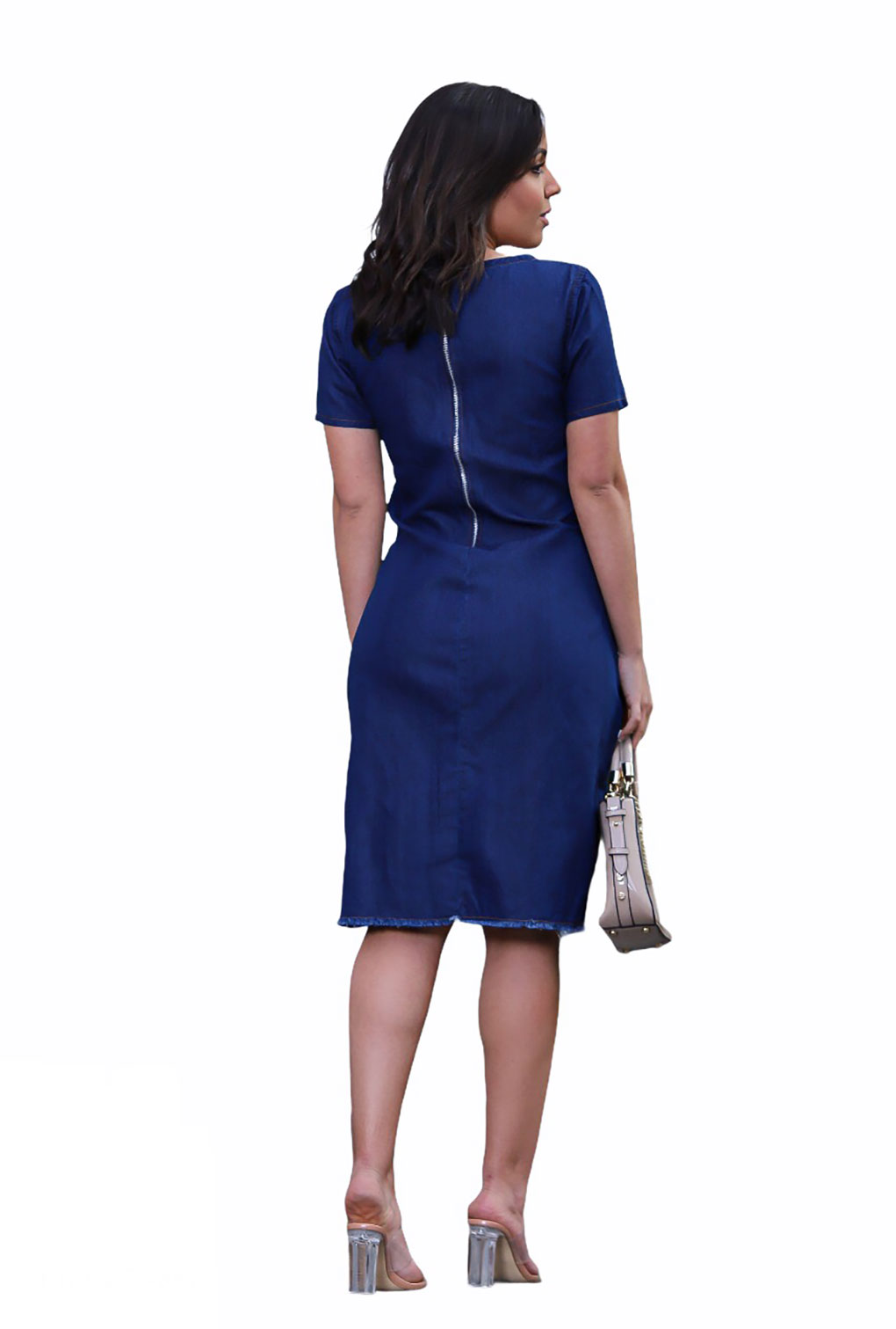 Vestido Jeans Amaciado Barra Desfiada Feminino  - ModaStore | Moda Feminina