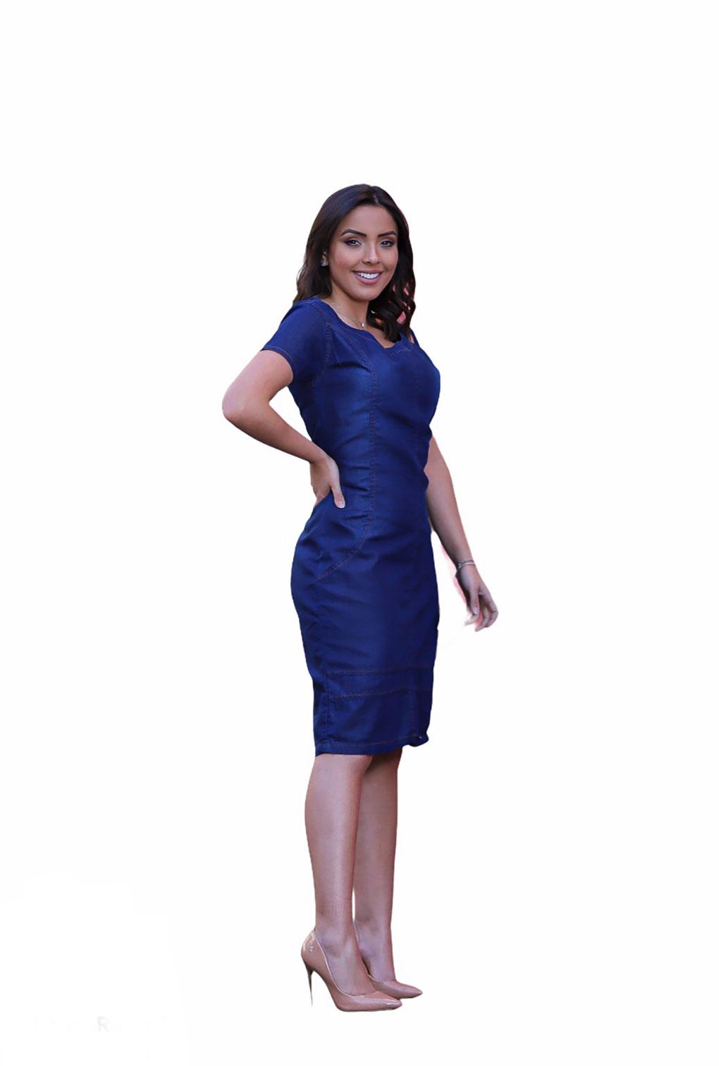 Vestido Jeans Blogueira Com Abertura Frontal  - ModaStore | Moda Feminina