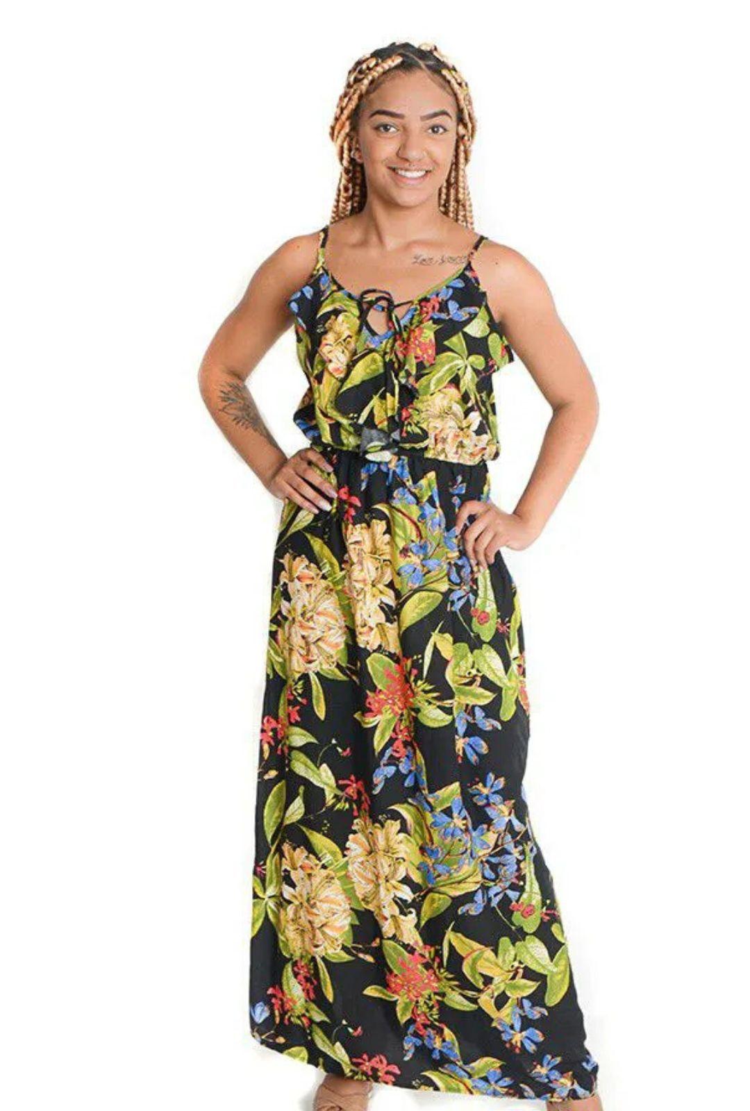 Vestido Longo Alcinha com Babado  - ModaStore
