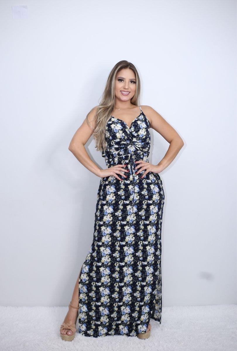 Vestido Longo Alcinha Floral   - ModaStore   Moda Feminina