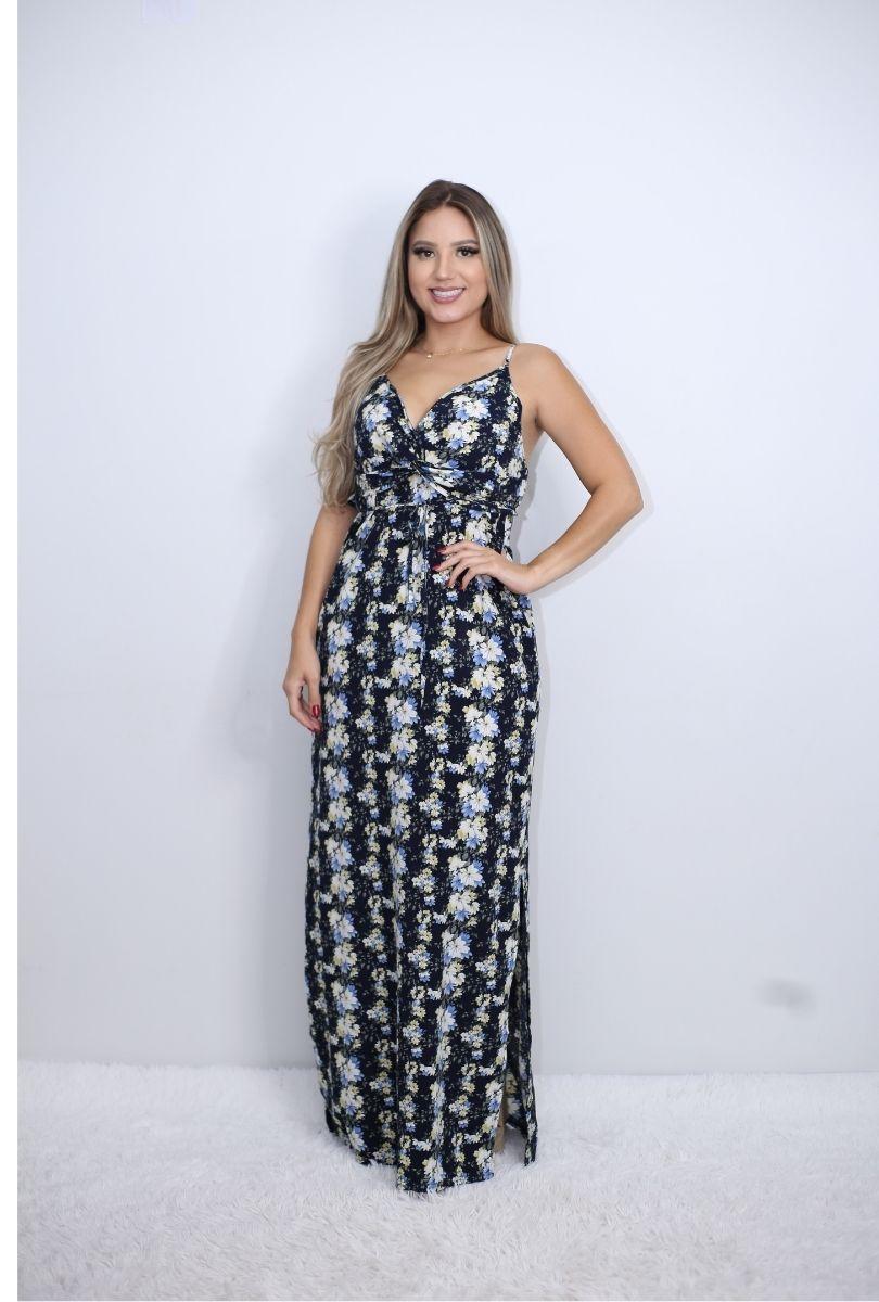 Vestido Longo Alcinha Floral   - ModaStore