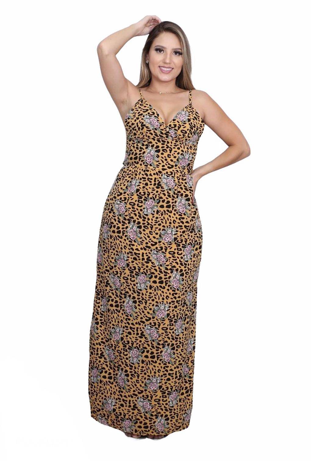 Vestido Longo Animal Print Alcinha com Amarração nas Costas  - ModaStore | Moda Feminina