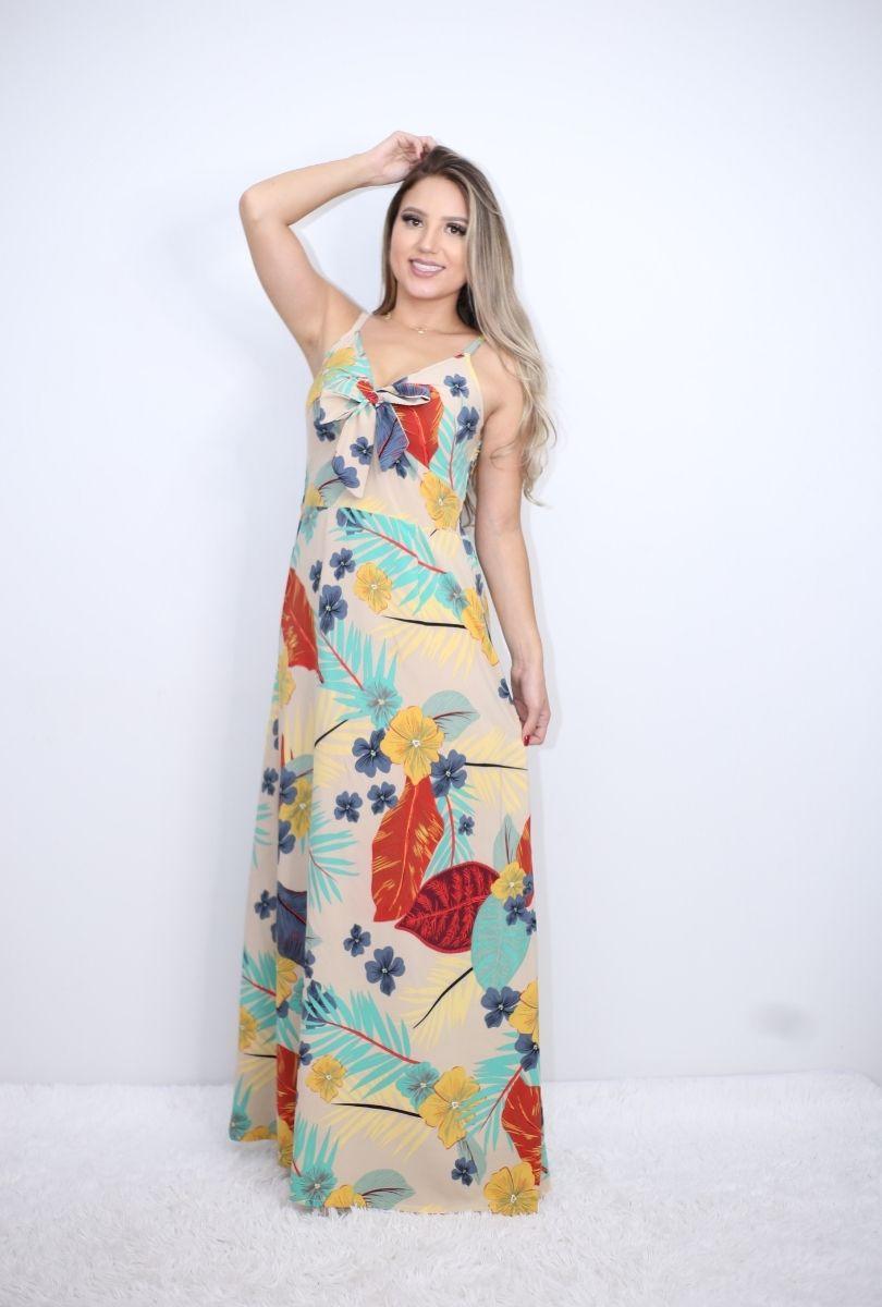 Vestido Longo Estampado com Detalhe Frontal  - ModaStore