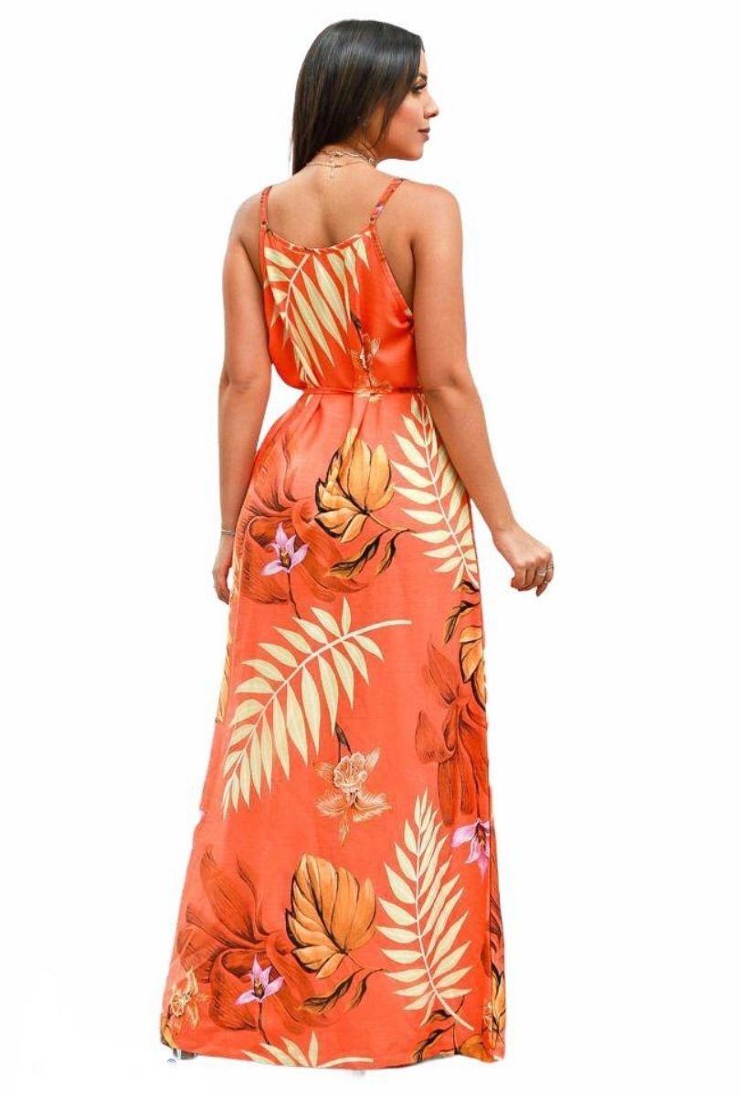 Vestido Longo Flora Laranja  - ModaStore | Moda Feminina