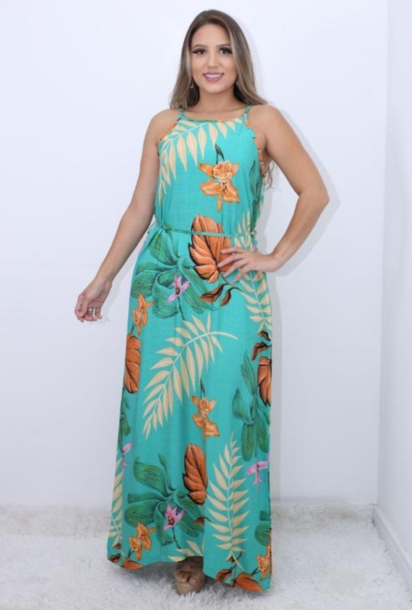 Vestido Longo Flora Verde  - ModaStore   Moda Feminina