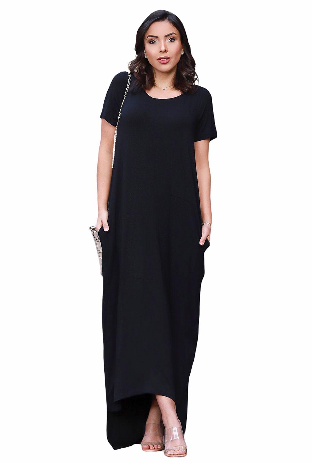 Vestido Longo Manga Curta Com Bolso Detalhe na Barra Blogueira  - ModaStore | Moda Feminina