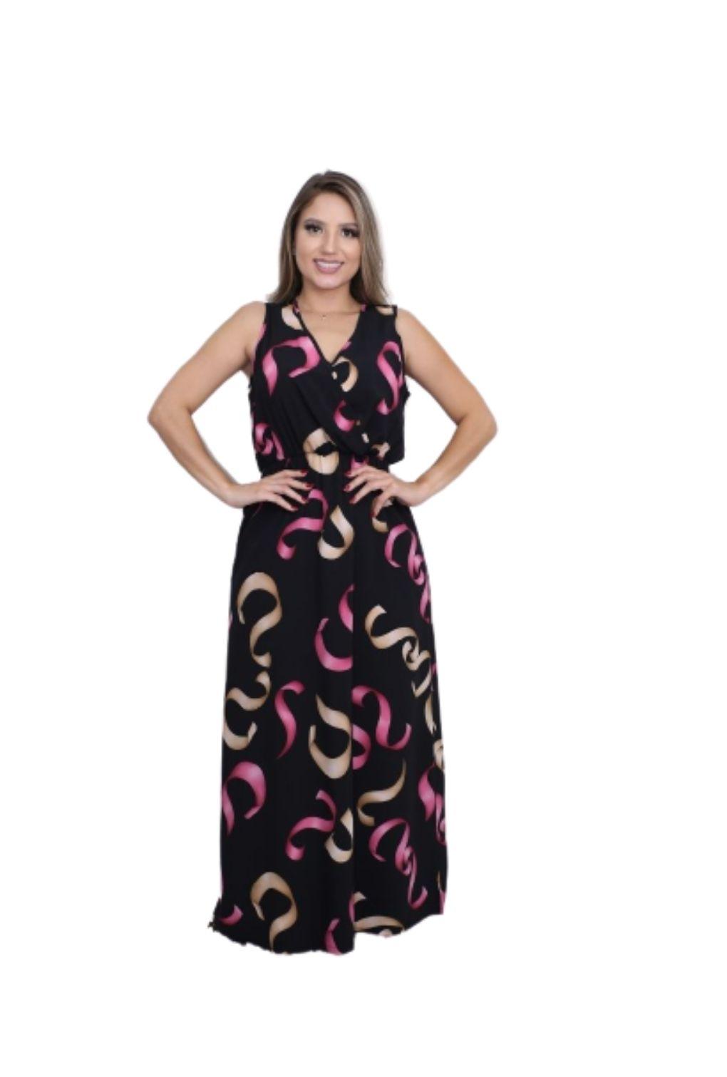 Vestido Longo Regata Decote Transpassado  - ModaStore | Moda Feminina