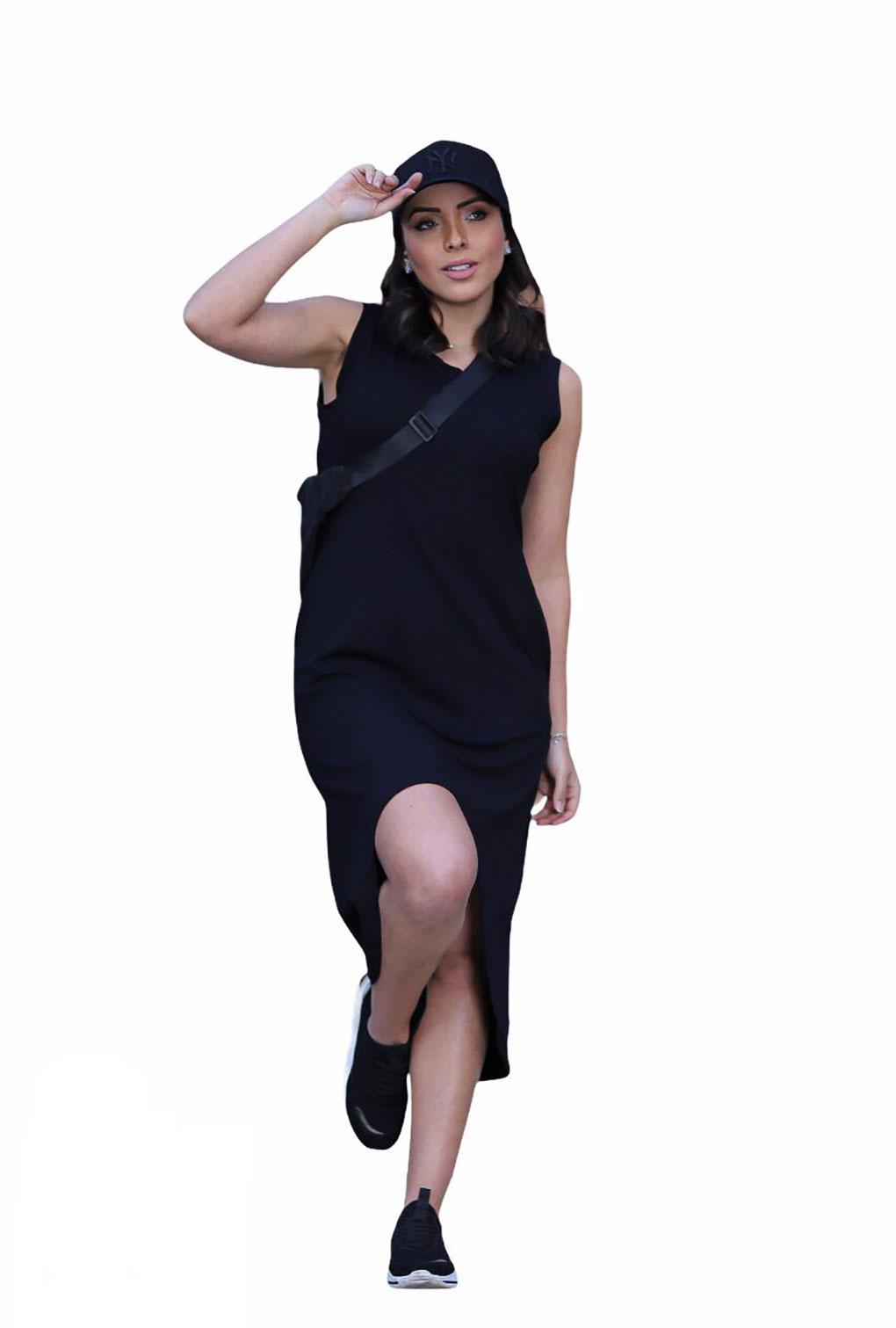 Vestido Malha Regata Midi Mullet  - ModaStore | Moda Feminina