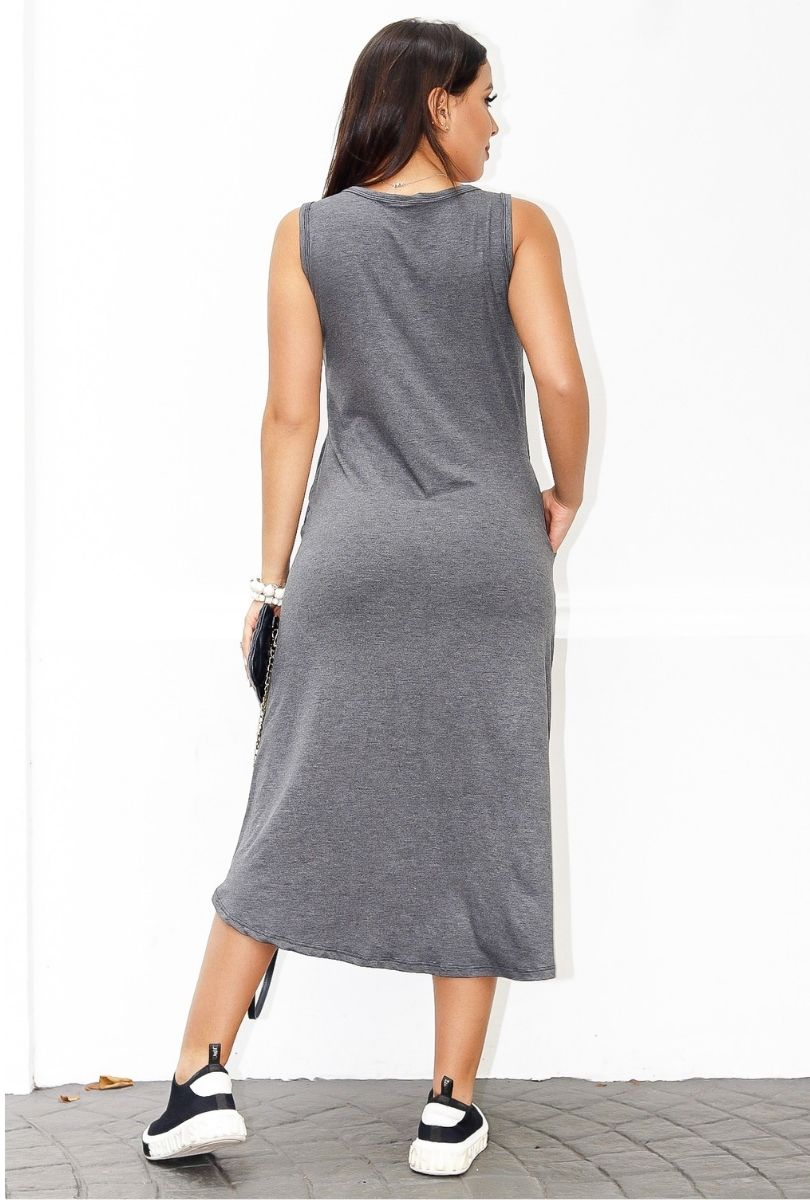 Vestido Malha Regata Midi Mullet  - ModaStore