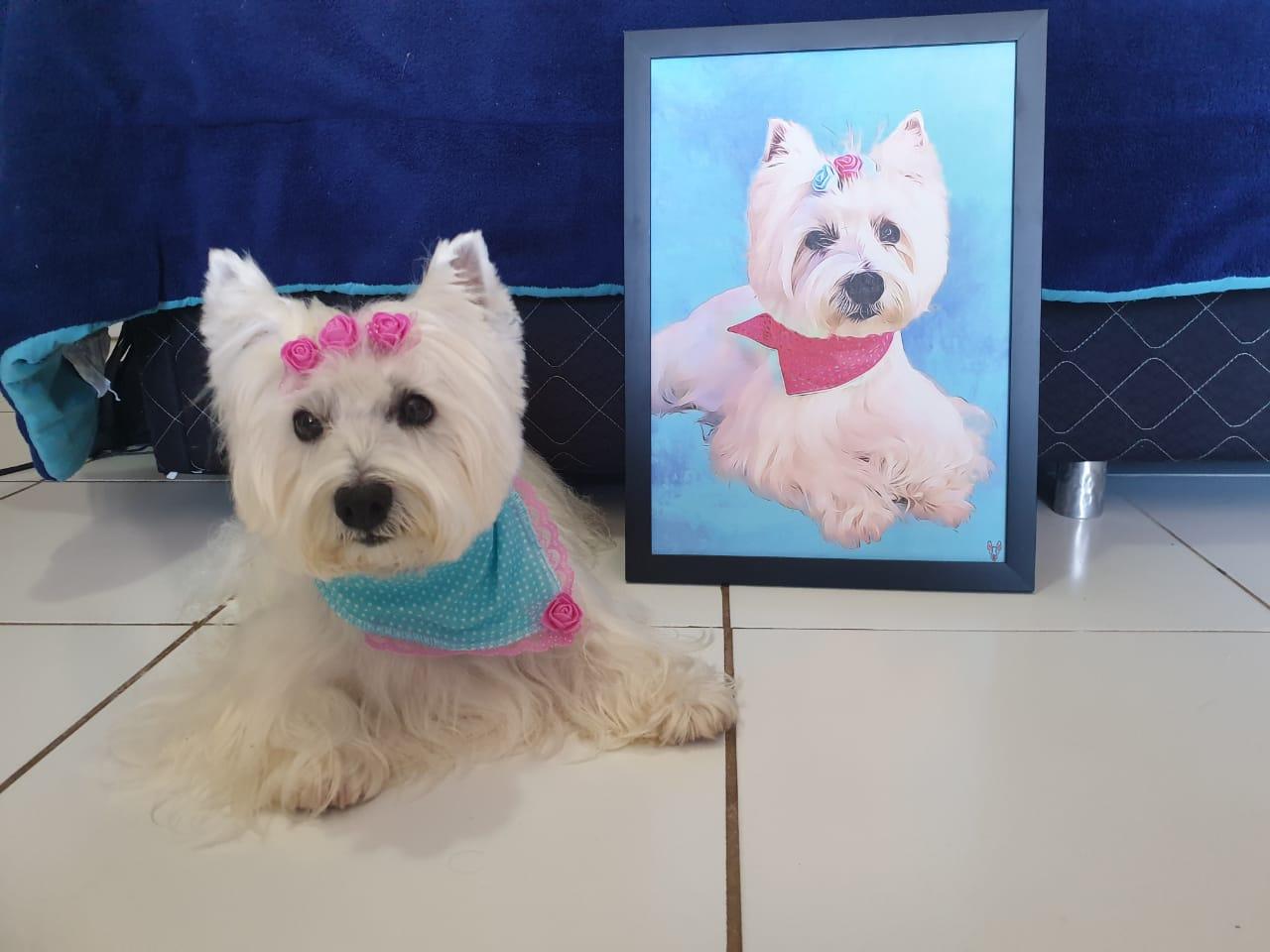 Quadro A4  Cachorro - Impresso em Alta Definição em Papel Texturizado e Moldura Preta Com Pendurador