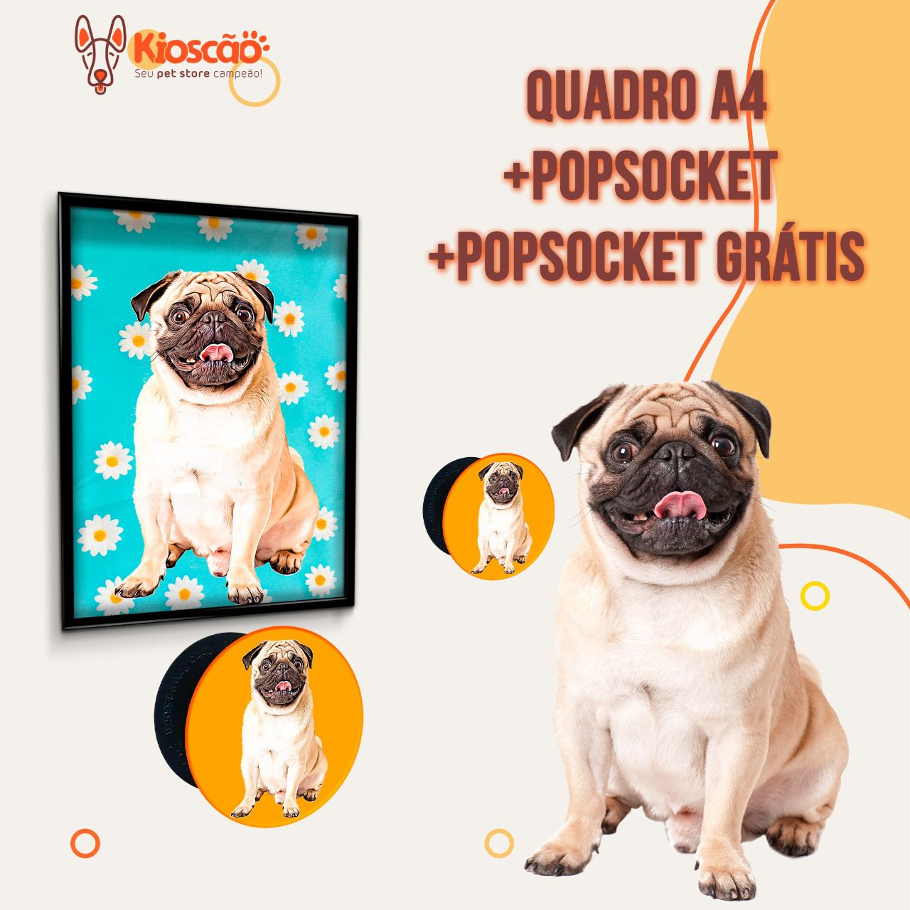 QUADRO A4 + POP SOCKET PERSONALIADO
