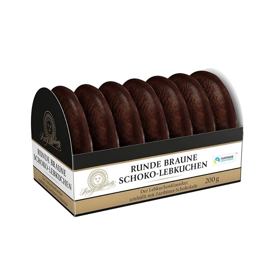 Henry Lambertz - Pão de Mel com Especiarias Cobertura de Glace com Chocolate 200gr Runde Braune Lebkuchen