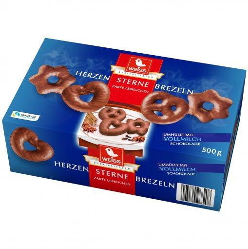 Weiss -  Herzen Sterne Brezeln (Pão de Mel com Chocolate) 500g