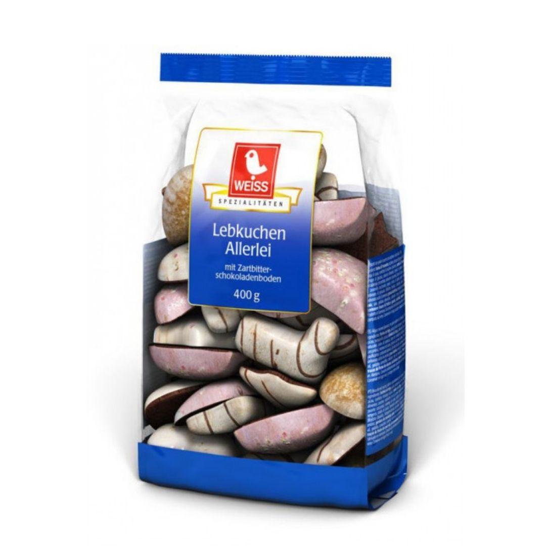Weiss Lebkuchen Allerlei - Biscoito com glace, confeitos e chocolate  400gr