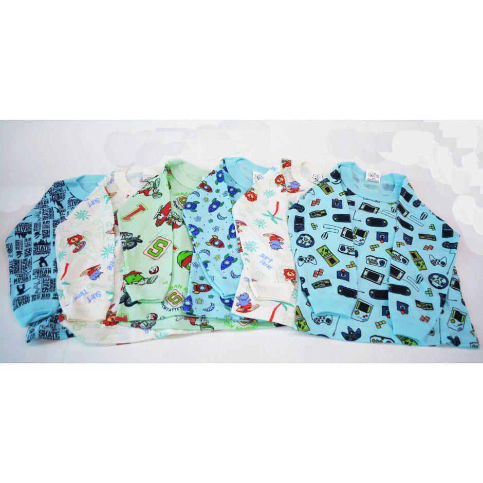 Camiseta Manga Longa Pacote com 06 Peças Estampadas  - Mafessoni
