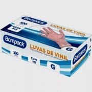 LUVA VINIL (G) COM PÓ C/100 UNID - BOMPACK