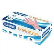 LUVA VINIL (M) COM PÓ C/100 UNID - BOMPACK